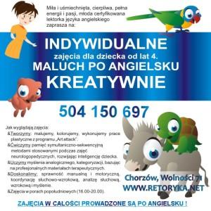 angielski dla dzieci, Chorzów, indywidualne zajęcia z języka angielskiego dla dzieci, RETORYKA