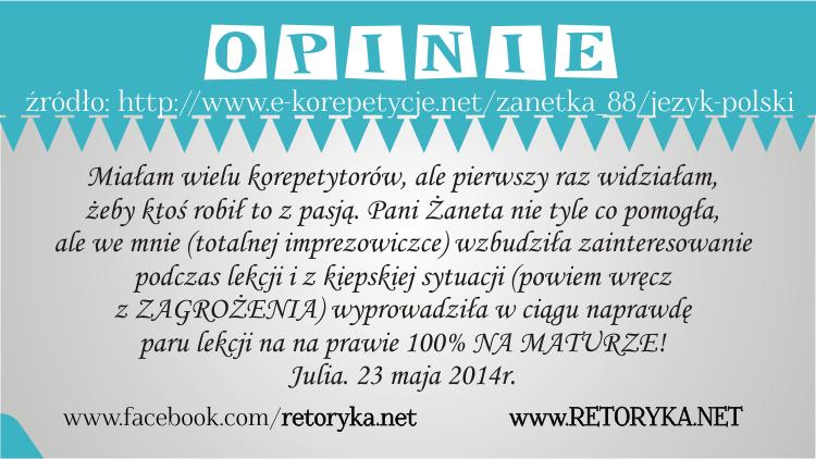 Opinie o korepetycjach z języka polskiego, opinie korepetycje polski Żaneta Laps